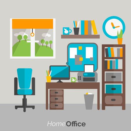Estantes y cajones de muebles de oficina en casa estante para libros y la ilustración vectorial resumen de escritorio de la computadora cómodo cartel silla plana