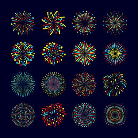 fiesta: Partido y eventos holiday icono fuegos artificiales plana conjunto aislado ilustraci�n vectorial Vectores