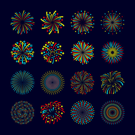 Party and holiday event firework icon flat set isolated vector illustration Vettoriali
