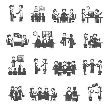 Meeting pictogrammen zwarte set met geïsoleerde mannen en vrouwen commercieel personeel vector illustratie