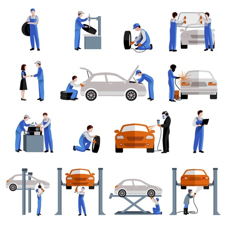 car in garage: Auto mechanic car service repair and maintenance work icons set isolated vector illustration