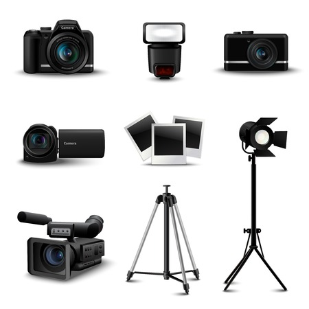 reflex camera: Realistic camera icons and photo equipment set isolated vector illustration