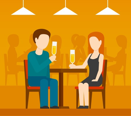 two men talking: Young romantic couple sitting at the table drinking champagne date in restaurant with people silhouettes on background flat vector illustration Illustration