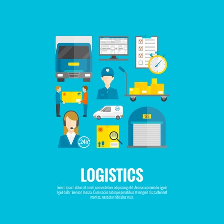 global logistics: Logistic concept with flat delivery and transport system icons set vector illustration