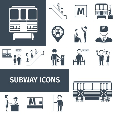 Subway transport train and station icons black set isolated vector illustration Vector