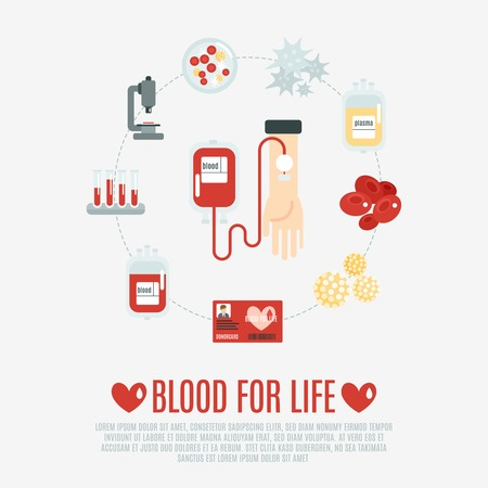 Bloeddonatie concept met de menselijke hand en de transfusie vlakke pictogrammen instellen vector illustratie