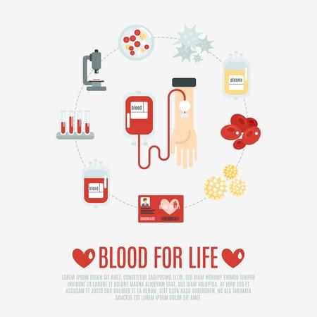 celulas humanas: Concepto de donación de sangre con la mano humana y los iconos de transfusión plana establecer ilustración vectorial