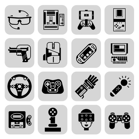 player controls: Gaming gadgets video player technologies black set isolated vector illustration