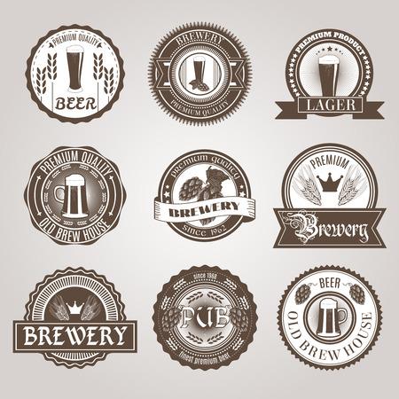 맥주 집 바 기존의 어둡고 밝은 프리미엄 맥주 브랜드는 검은 색 추상 격리 된 벡터 일러스트 레이 션을 설정 라벨