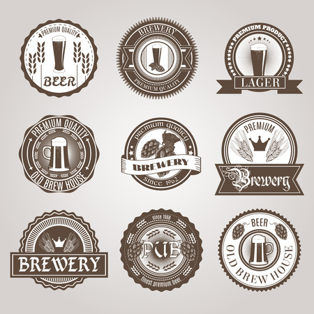 Brewery house bar traditional dark and light premium beer brands labels set black abstract isolated vector illustration Illustration