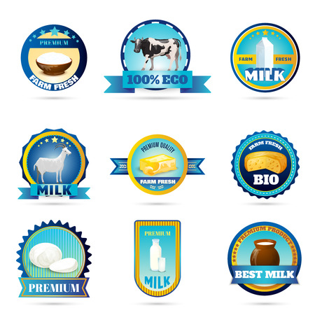 Eco friendly farm fresh dairy products labels set for organic goat milk cheese abstract isolated vector illustration
