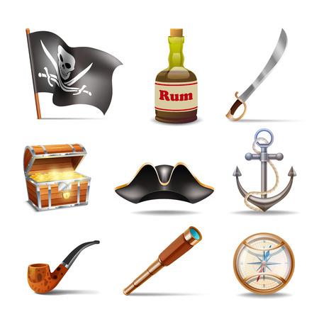 drapeau pirate: Icônes Pirate ensemble coloré avec jolly roger rhum sabre coffre au trésor à la recherche boussole d'or de verre ancre bicorne et le tuyau isolé illustration vectorielle