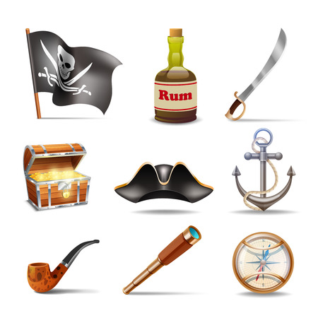 pirate treasure: Pirate icons set colorful with jolly roger rum sabre treasure chest looking glass gold compass cocked hat anchor and pipe isolated vector illustration