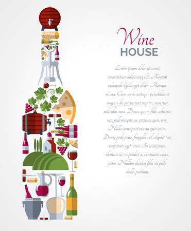 bottle opener: Wine house advertisement icons composition bottle shape poster with ice bucket and cheese abstract vector isolated illustration