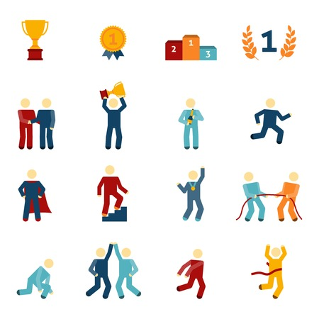 Competition icons flat set with winners champions business leaders characters isolated vector illustration