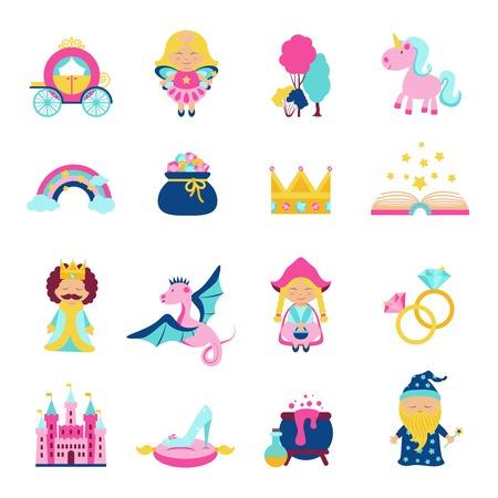 Sprookjesfiguren en symbolen set met magische boek wand draak eenhoorn geïsoleerde vector illustratie