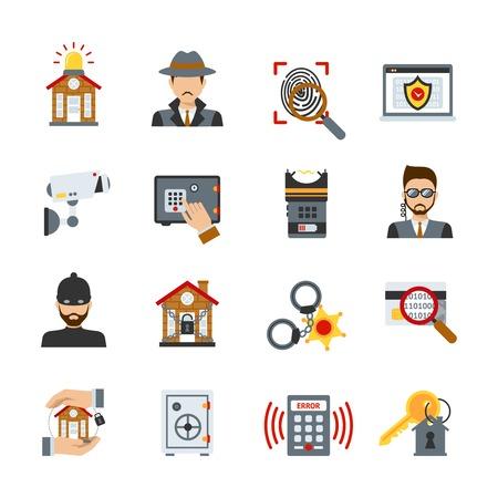 ladron: Vigilancia y seguridad iconos conjunto con ladrón de detectives y de protección de los símbolos aislados ilustración vectorial Vectores