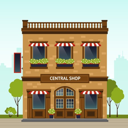 Brick building retro style shop facade with city on background flat vector illustration Illustration
