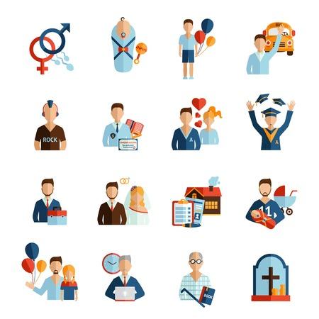 Etapas de la vida persona y crecientes iconos proceso conjunto aislado ilustración vectorial Ilustración de vector