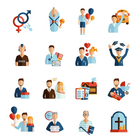 Person life stages and growing process icons set isolated vector illustration Çizim