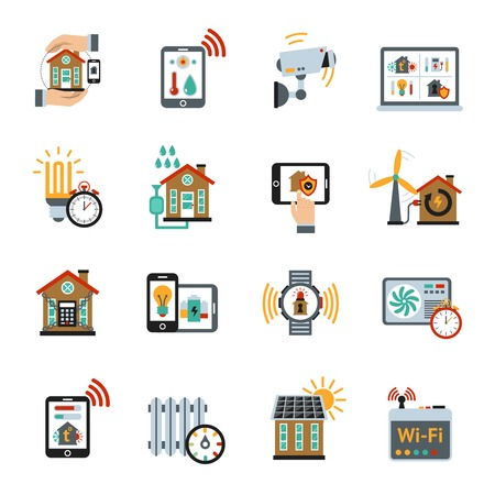 energy savings: Smart house energy control technology system icons set isolated vector illustration