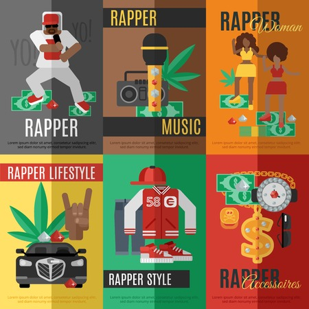 rap music: Rap music mini poster set with rapper style clothing and accessories isolated vector illustration
