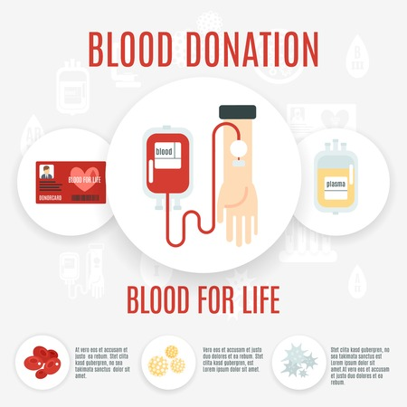 transfusion: Blood donor flat icon set with human hand making transfusion vector illustration Illustration