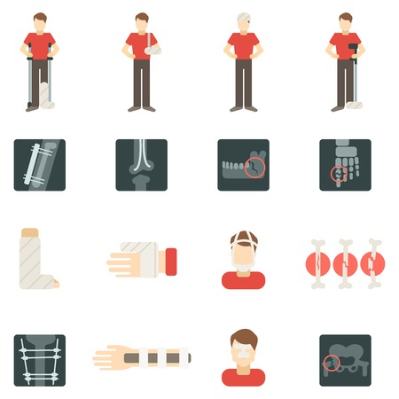 sternum: Fracture bone flat icons set with people silhouettes skeleton x-ray isolated vector illustration