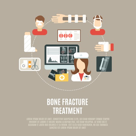 crutch: Fracture bone treatment concept with flat healthcare icons set vector illustration