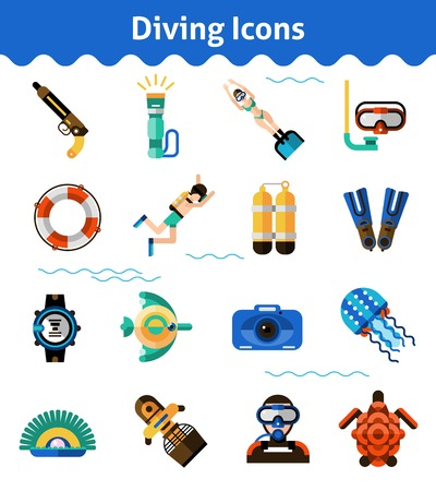 lifejacket: Scuba diving icons set with oxygen snorkel fish isolated vector illustration