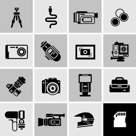 techniek: Camera pictogrammen zwart set met digitale foto techniek en apparatuur geïsoleerd vector illustratie