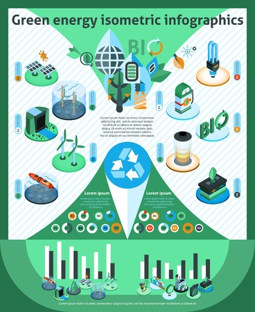 energy management: Green energy infographics set with ecology and environment isometric symbols and charts vector illustration
