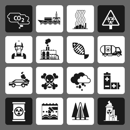 Pollution dangerous earth damage icons black set isolated vector illustration Illustration