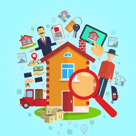Vastgoed te koop huur makelaar concept op blauwe achtergrond plat vector illustratie
