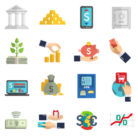 Banking system business currency cash icons set on white background isolated flat vector illustration