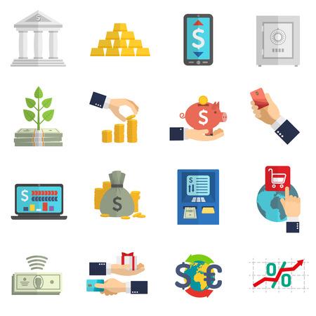 tarjeta visa: Iconos en efectivo en moneda negocio banca establecidos en el fondo blanco aisladas ilustración vectorial plana