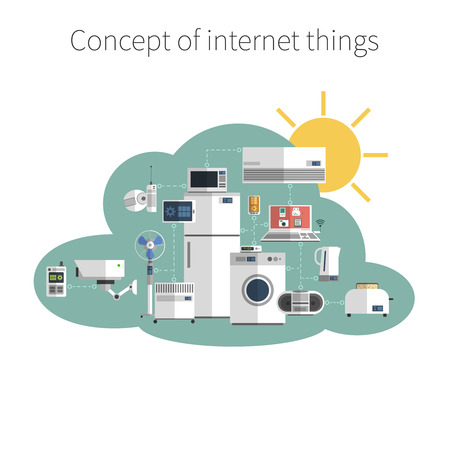 internet: Internet things concept flat icon in public data exchange cloud protected environment symbol poster abstract vector illustration