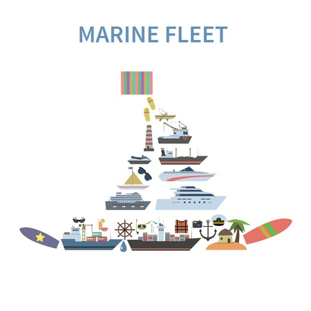 Ship concept with flat marine and sailing symbols in yacht shape vector illustration