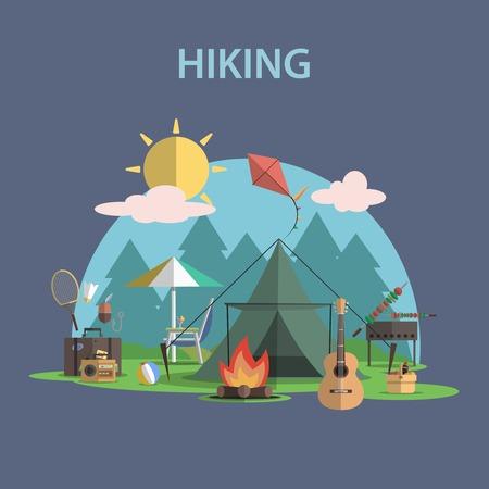 Turistika a rekreaci ve volné přírodě koncept s plochým Kempu cestovní ikony vektorové ilustrace