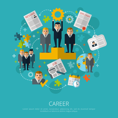 Human resources business career infographic elements schema poster with job search and employment symbols abstract vector illustration Illustration
