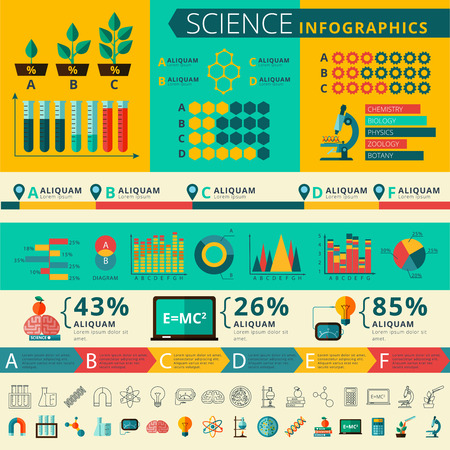 experimental: Experimental science research infographic report presentation statistic with timeline development graphic and  diagrams flat abstract vector illustration