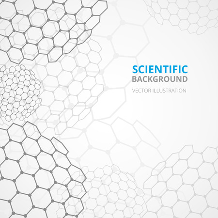 hexagon background: Modern scientific hexagonal cell spheres tesselar background pattern template for website titles and announcements abstract vector illustration