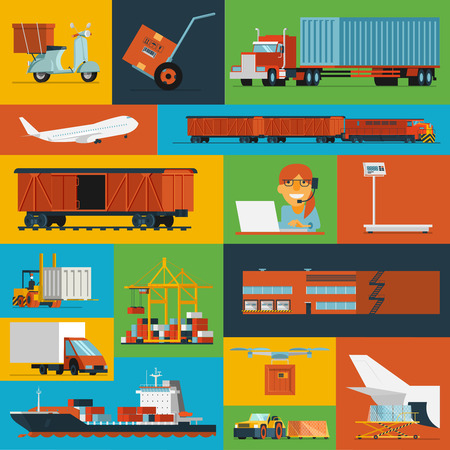 global logistics: Freight transportation and delivery logistics flat icons set with  international operator complex service  abstract isolated vector illustration Illustration