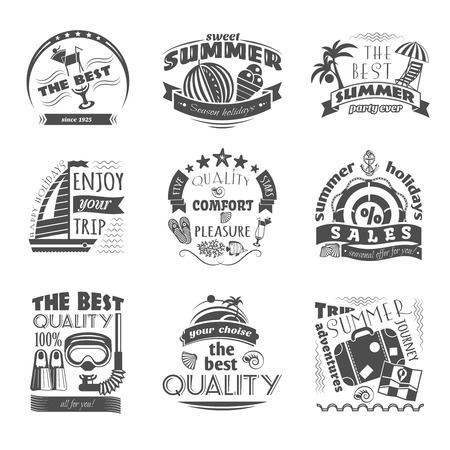 Tropical island vacation journey travel agency black labels set for best summer holiday abstract isolated vector illustration