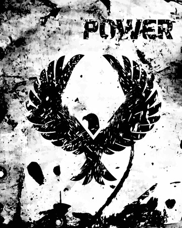 spread eagle: Eagle power poster with black bird silhouette and grunge ink background vector illustration