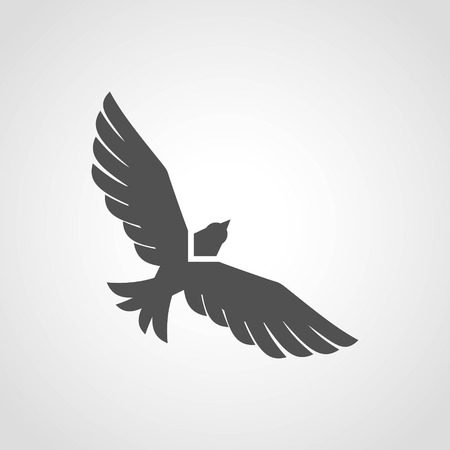 Flying eagle black silhouette flat icon isolated on white background vector illustration