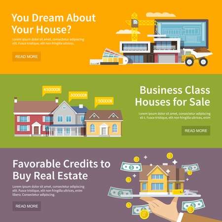 residential neighborhood: House horizontal banner set with property purchase credit and building flat elements isolated vector illustration