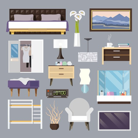 bedrooms: Bedroom furniture flat icons set with bed lamp armchair isolated vector illustration