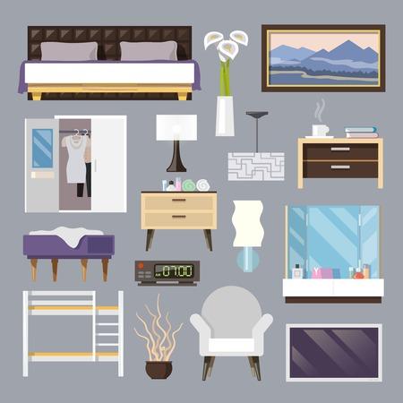 Slaapkamermeubilair vlakke pictogrammen set met geïsoleerde bed lamp leunstoel vector illustratie