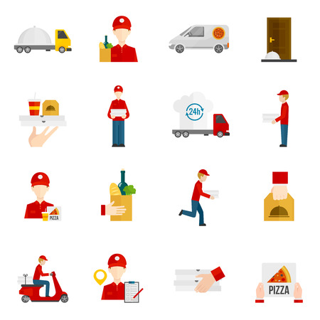 Food delivery by courier with truck minibus or scooter flat icons set isolated vector illustration